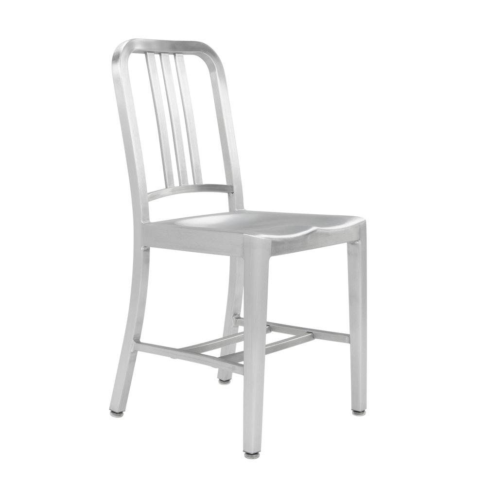 Original Emeco Navy Chair in brushed aluminium finish. Image © Emeco.