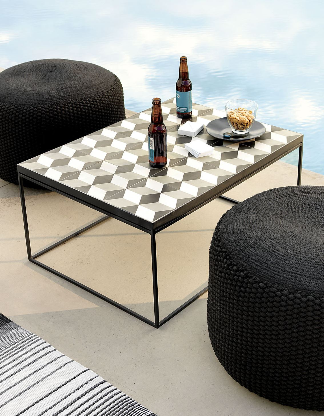 Outdoor-friendly pouf from CB2