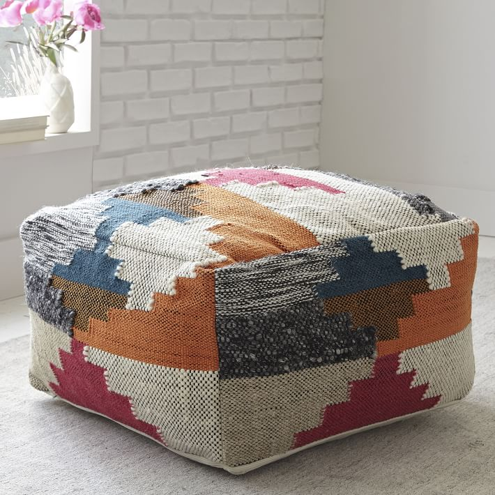 Patterned wool pouf from West Elm