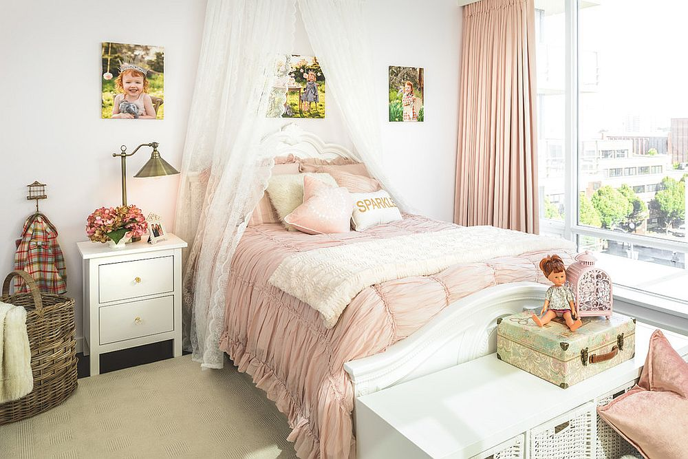 Pink and white shabby chic kids' bedroom for your little princess [Design: Leanne McKeachie Design]