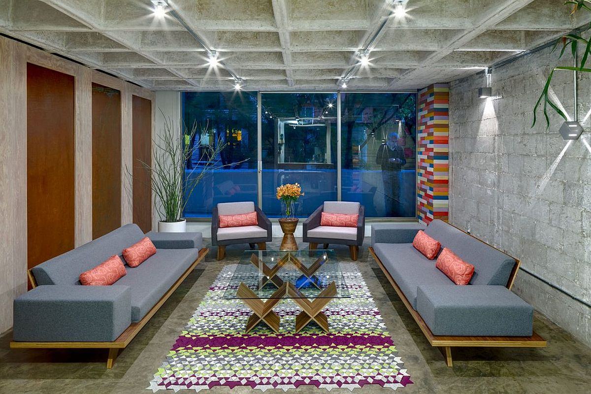 Polished concrete flooring and walle slab inside the renovated apartment in Mexico Hegel Street Apartment in Mexico City: Full of Color and Character