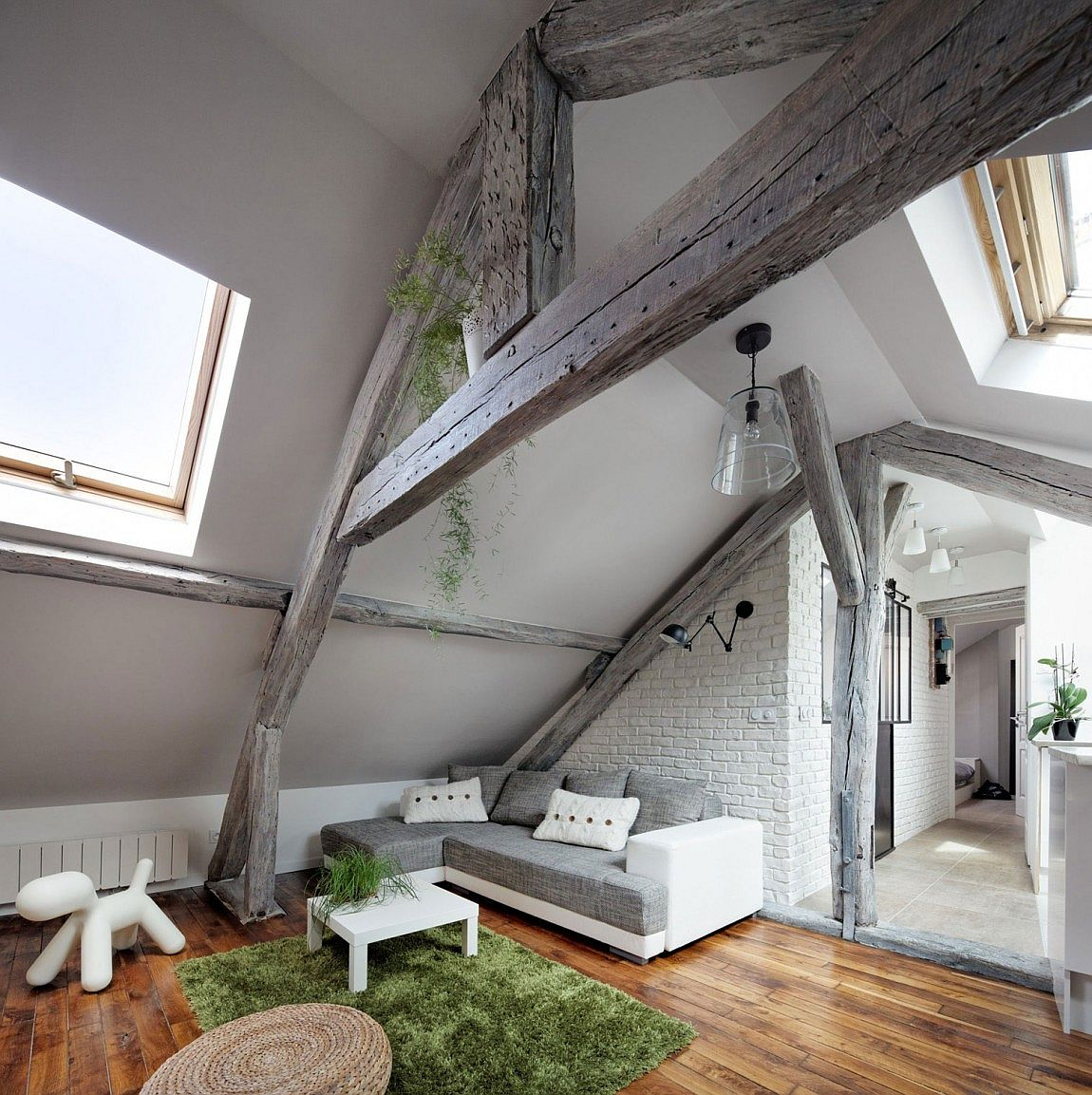 Rustic Modern Attic Apartment Renovation Oozes Parisian Panache!