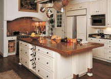 Polished copper countertop for the unique modern kitchen island