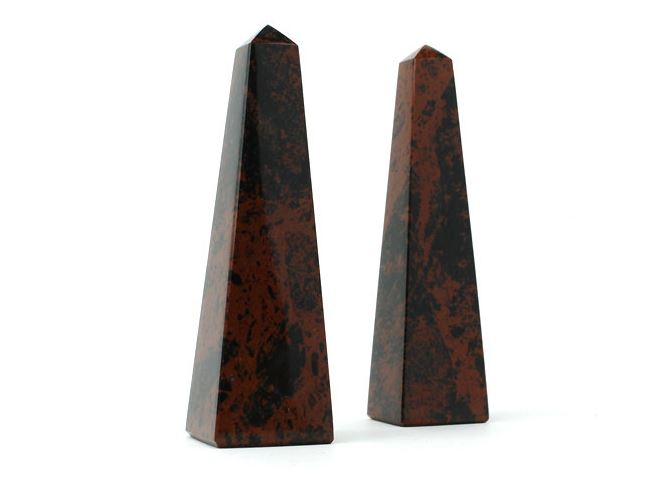 Polished obsidian obelisks from Etsy shop Geo Evolution
