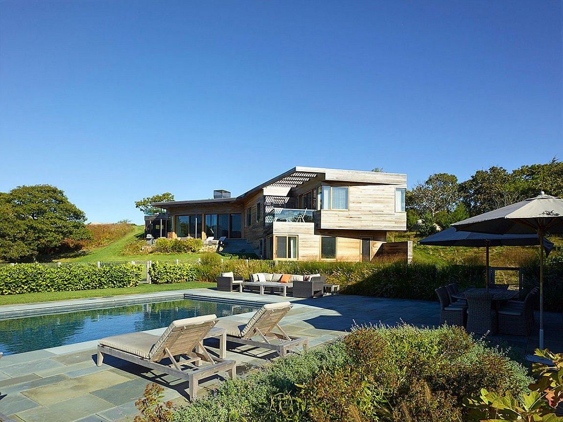 Private deck and pool area of vineyard farmhouse on Martha's Vineyard