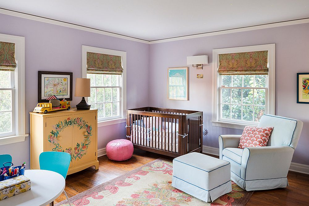 Purple looks great in the traditional nursery as well! [Design: Georgeanna Parks Interior Design / Anthony Rich Photography]