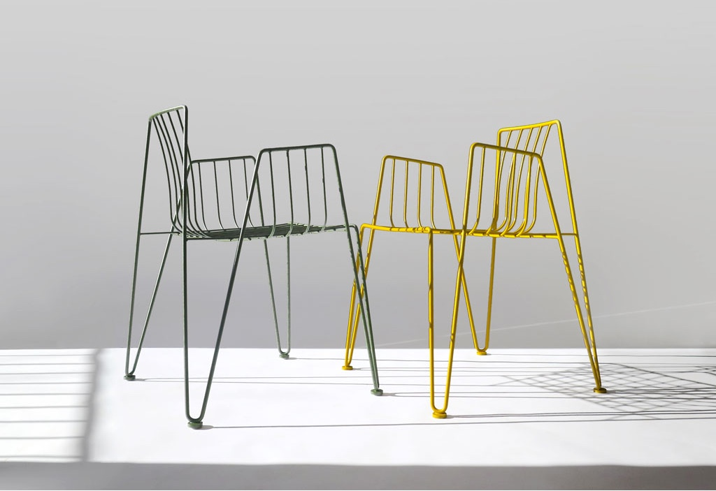 Rambla chairs in green and yellow by Martín Azúa for Mobles 114.