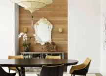 Recessed accent wall of wood