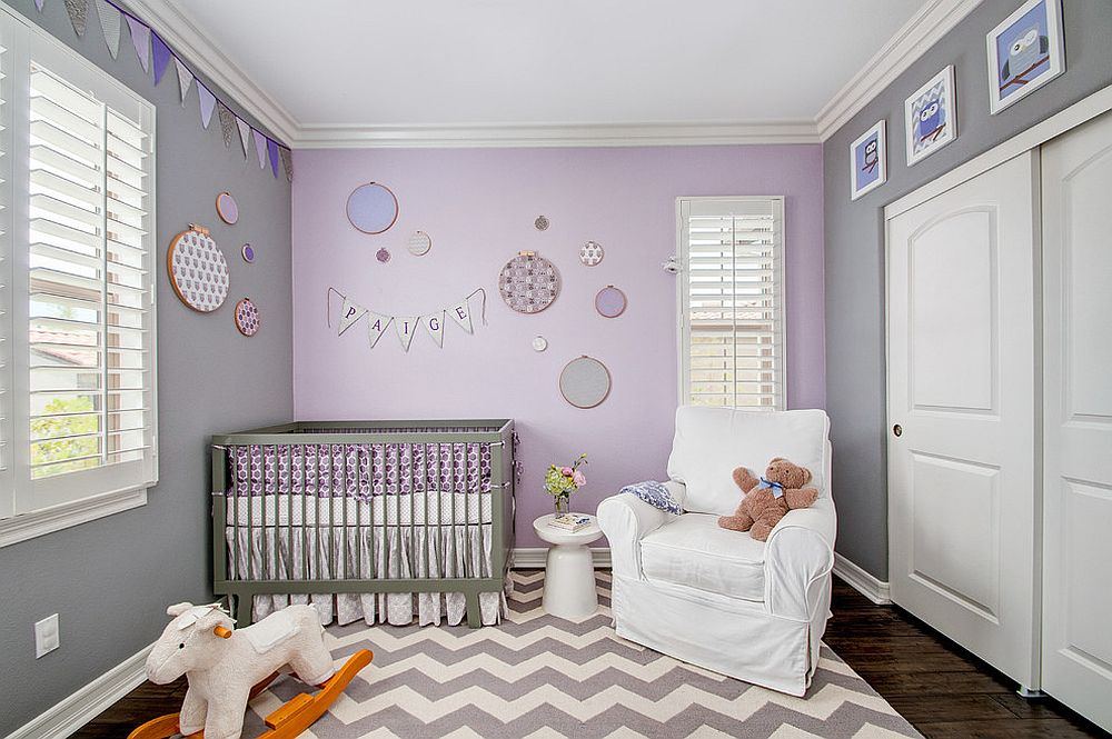Refined modern nursery in gray and purple [Design: 4 CORNERS: International Design Concepts / Preview First Photography]