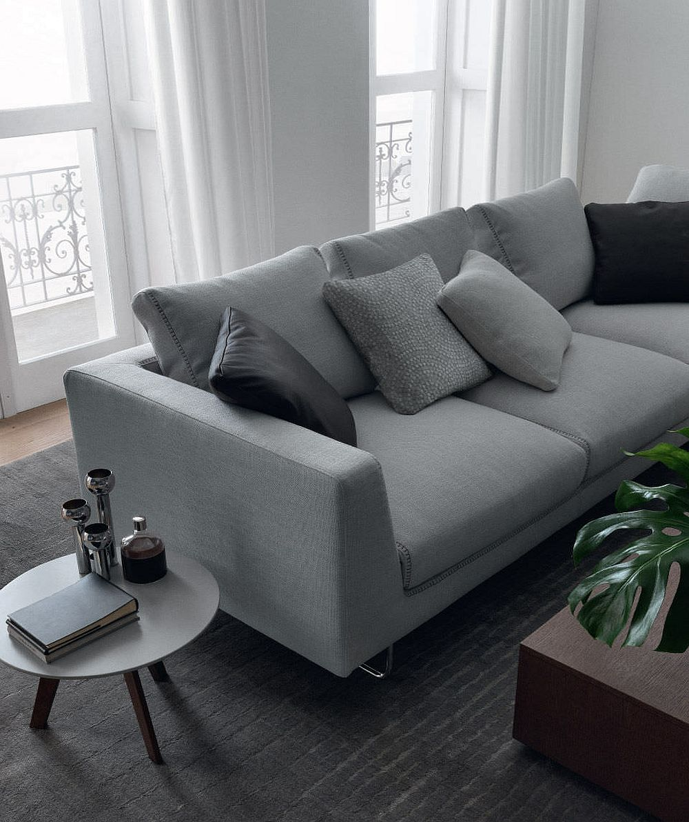 view in gallery refined modular sofa brian with sartorial stitching
