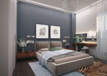 Relaxing and sophisticated bedroom design with shades of gray and wooden sidetables