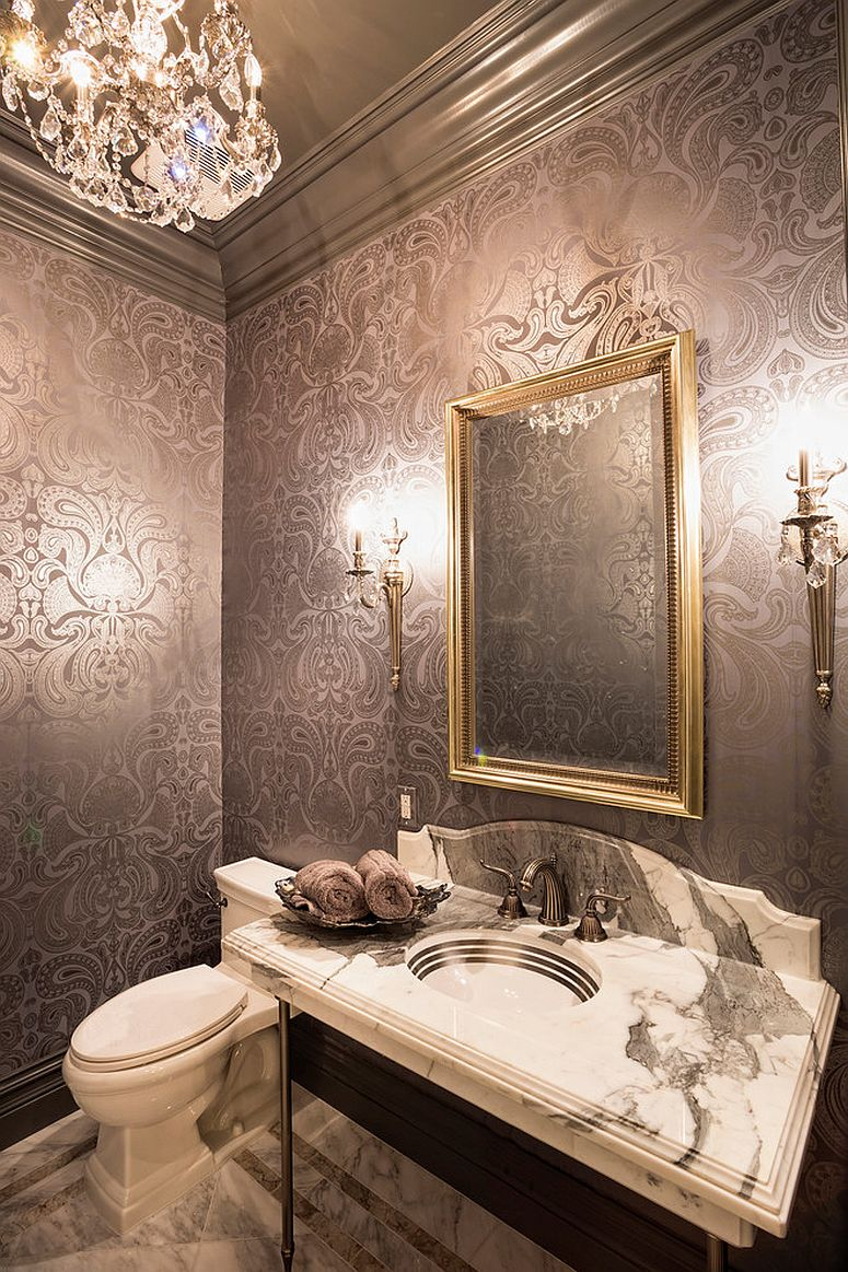 Rich Cole and Son's Malabar Wallpaper steals the show in this dashing powder room [Design: Jennifer Bevan Interiors]