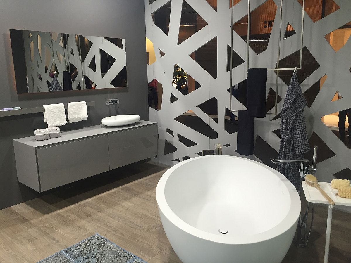 Round standalone bathtub on displat at Salone del Mobile 2016 by Dimasi Bathrooms