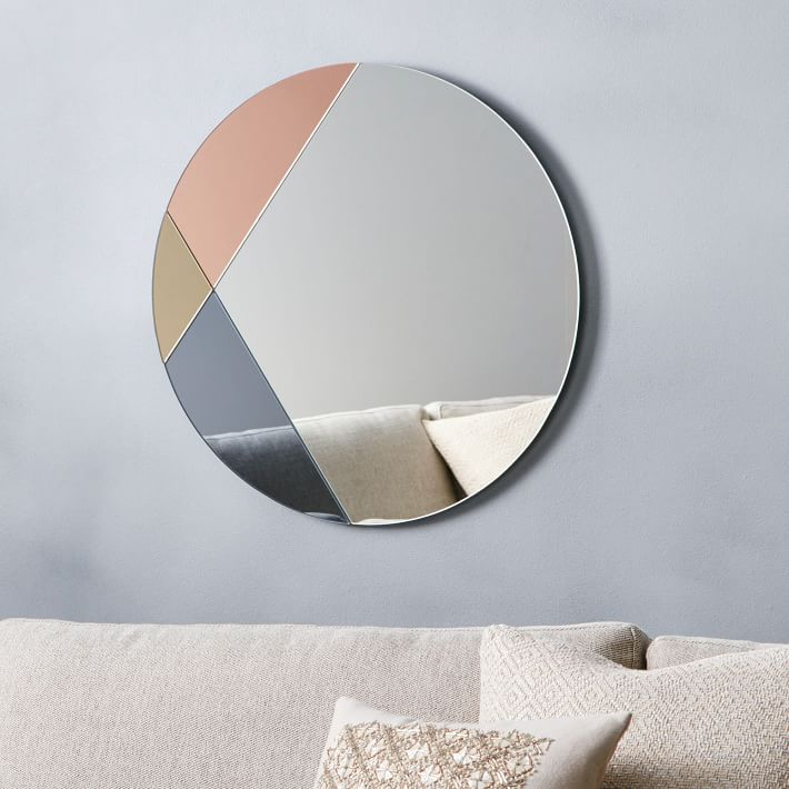 Round tinted glass mirror from West Elm