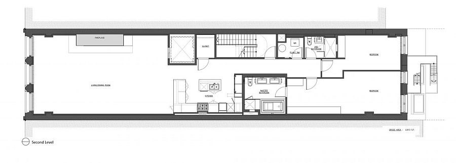 Second level floor plan of NYC apartment