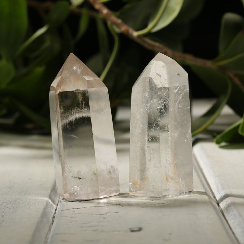 Set of 2 quartz obelisks from Etsy shop Pacific Minerals
