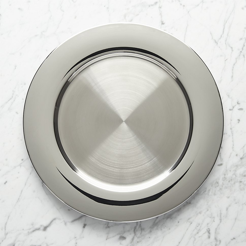 Shiny stainless steel charger plate from Crate & Barrel
