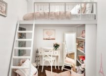 Small and stylish kids' loft bedroom and homework zone underneath