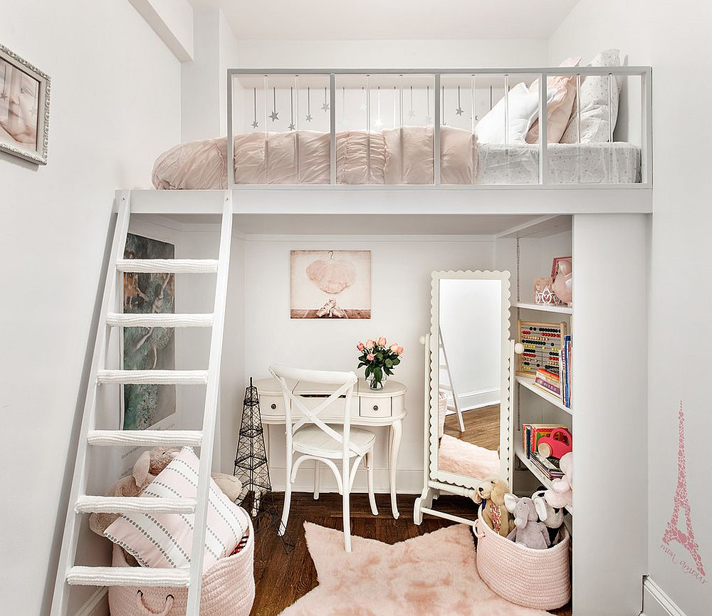 Small and stylish kids' loft bedroom and homework zone underneath [Design: Shana Dee Nursery Décor]