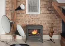 Small fireplace and roaring music system in the living room