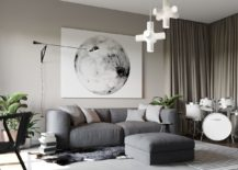 Smart sitting zone with plush couch and ottoman in gray and lovely wall art 217x155 Apartment Ernst in Kiev: Inspired by Posh Hotel Ambiance