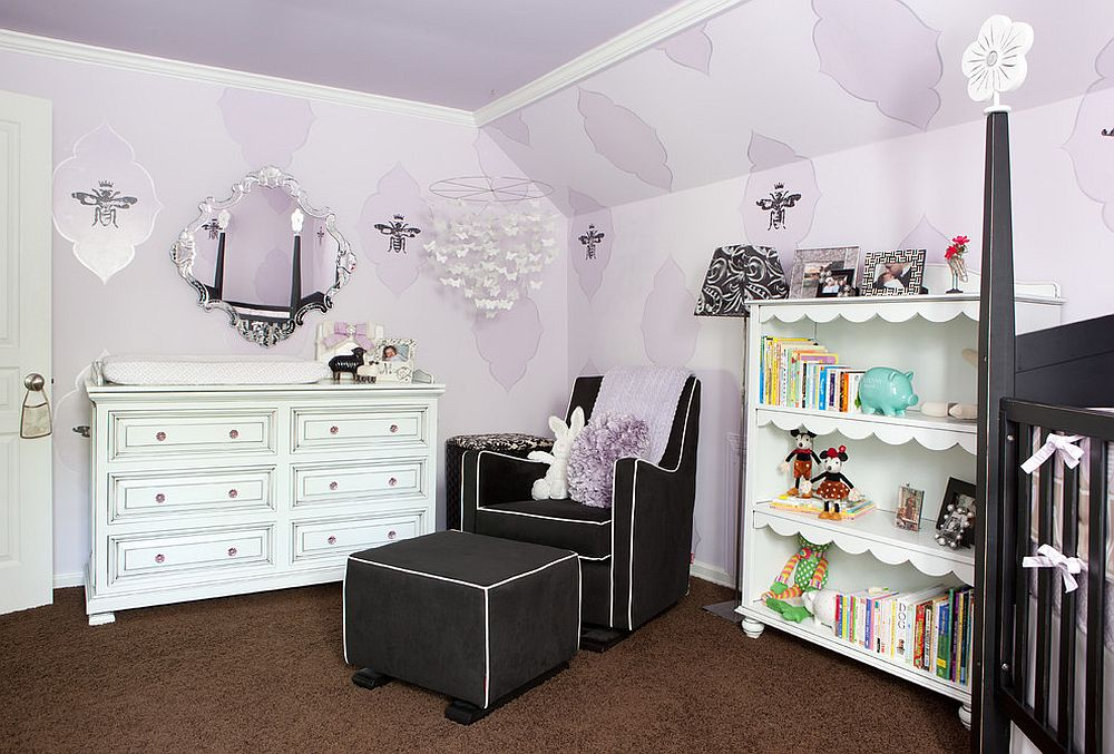 Smartly decorated nursery in shades of purple and a beautiful ceiling