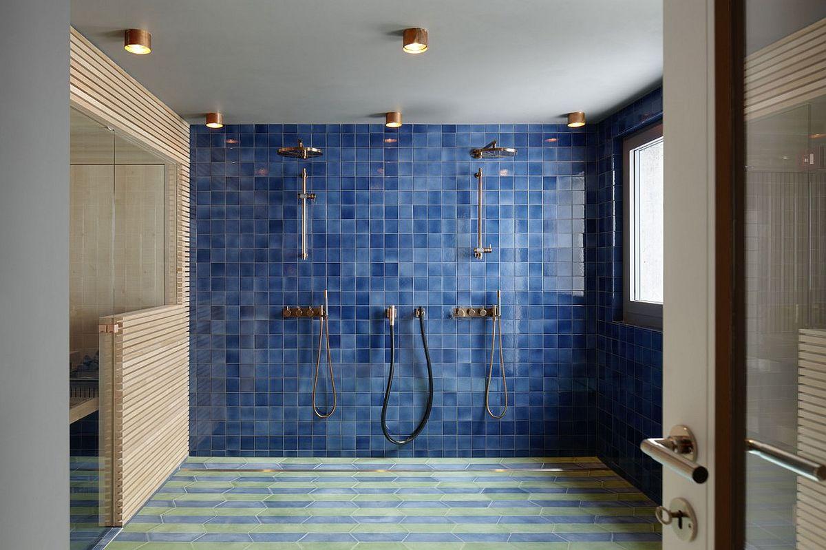 Spacious modern bathroom in blue