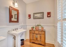 Spacious powder room moves away from the usual, tiny spaces
