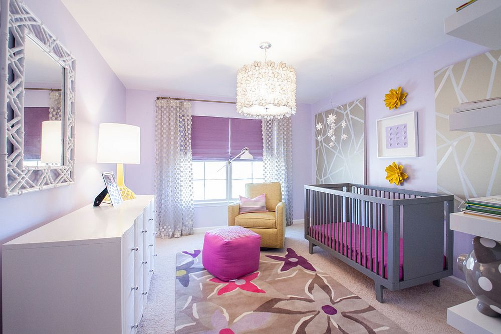 Spacious transitional nursery with splashes of bright purple