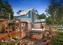 Spacious wooden deck, outdoor Jacuzzi and pool area of the Bower House in Shoreham