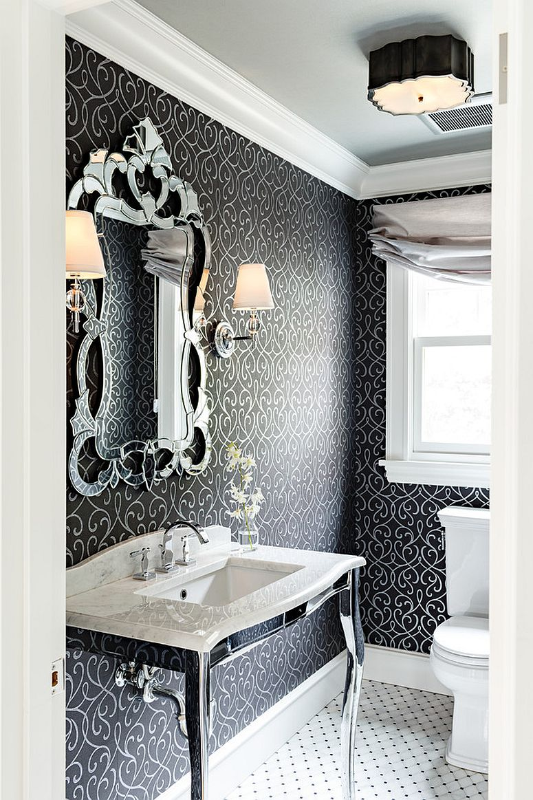 Sparkling vanity and mirror epitomize Victorian style to perfection! [Design: Mosaik Design & Remodeling / Lincoln Barbour Photography]