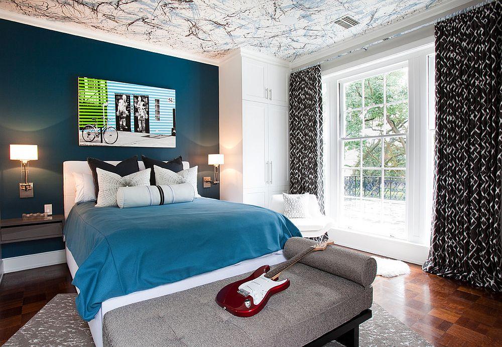 Splatter paint ceiling for the kids' room [Design: Laura U / Photography: Julie Soefer]