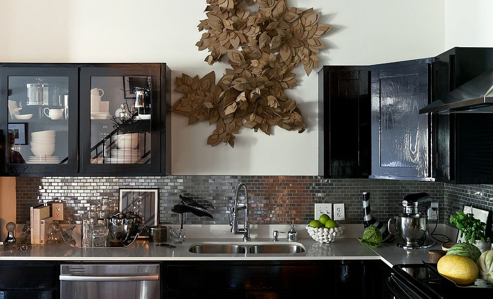 Stainless steel mosaic backsplash makes a unique visual statement in the modern kitchen [Design: Jamie Laubhan-Oliver]