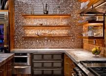 Striking copper penny tile backsplash by Casale Tile