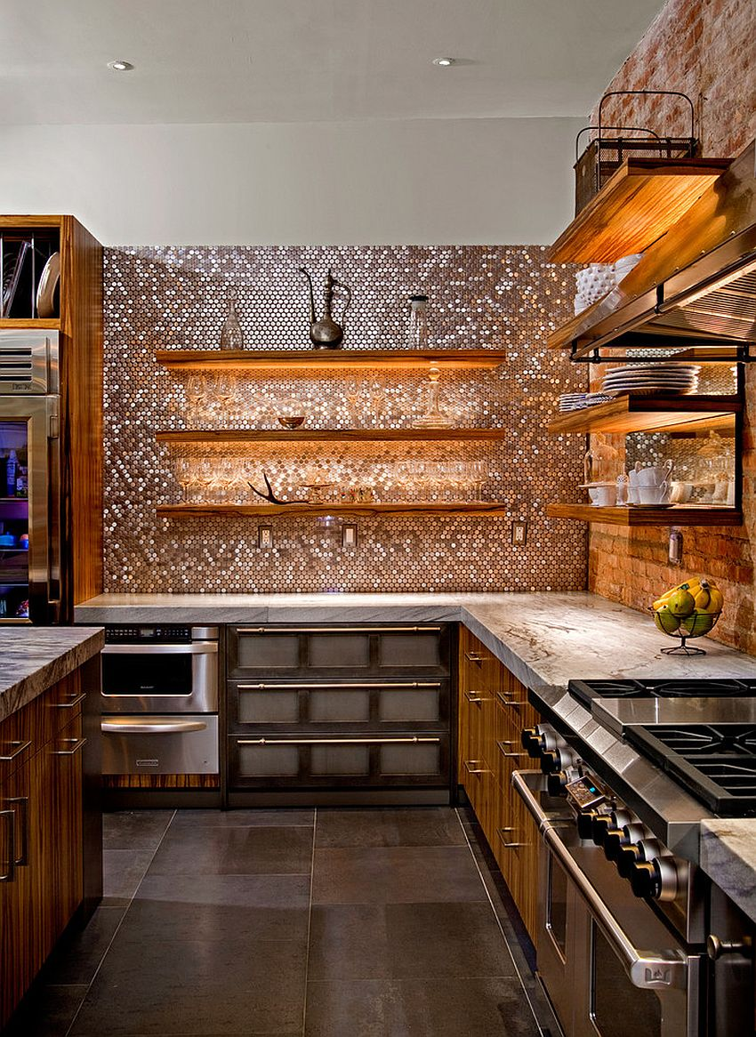 Striking copper penny tile backsplash by Casale Tile