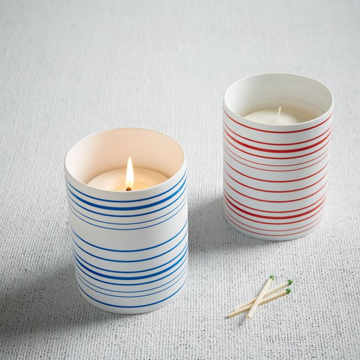 Striped porcelain hurricanes from West Elm