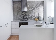Stunning backsplash in kitchen - Karim Rashid for ALLOY Ubiquity tile in Brushed Stainless Steel