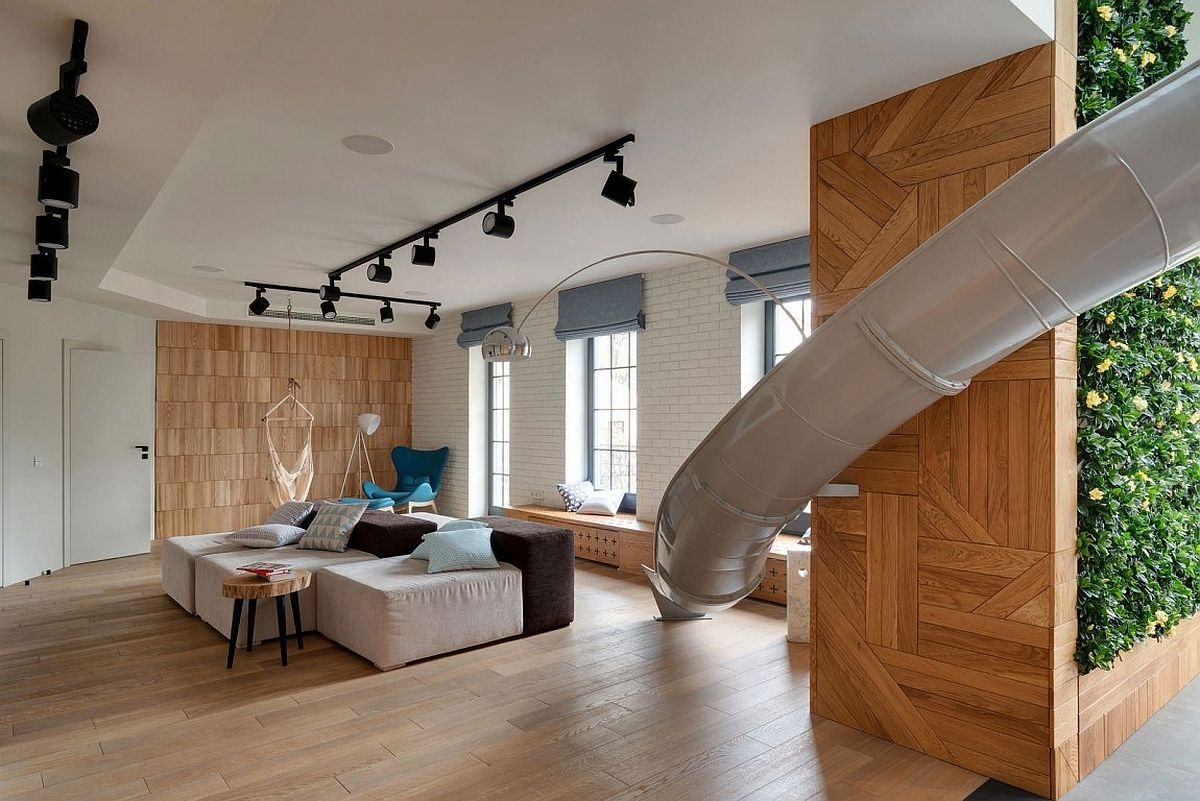 Stylish apartment with slide in in Kharkov Ukraine Wow Factor: Playful Kiev Apartment with Giant Slide and Green Wall