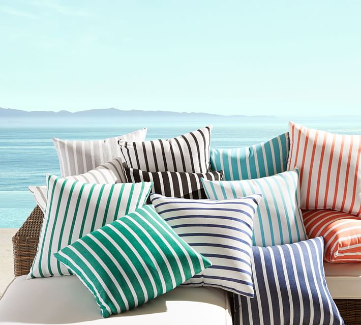 Summery striped pillows from Pottery Barn Simple Stripes for Summer