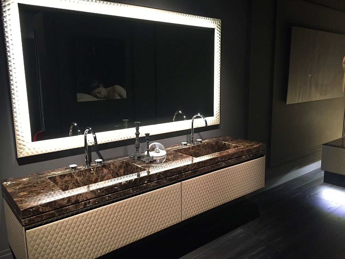 Textural style of the vanity and mirror steal the show here