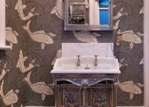 There is definitely something fishy about this Victorian powder room wallpaper