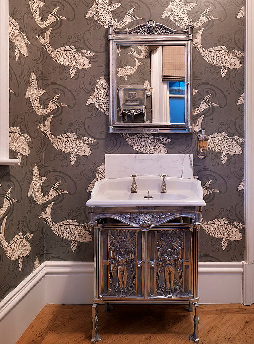 There is definitely something fishy about this Victorian powder room wallpaper [Design: Jamie Hempsall Ltd]