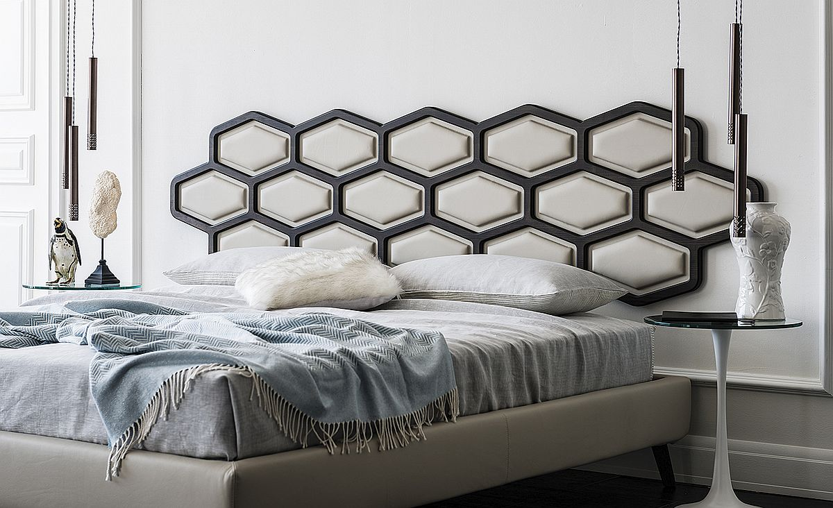 Thiago Bed designed by Alessio Bassan with unique headboard