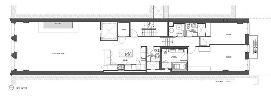 Third level floor plan of luxurious New York City apartment