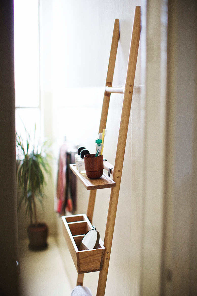 The Tilt Ladder, designed by SmithMatthias, is a multipurpose storage solution for the kitchen, office, hallway or bathroom. Image © 2016 Discipline.