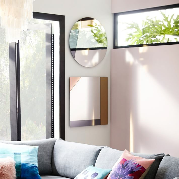 Tinted colorblocked mirrors from West Elm
