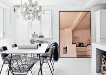 Tinted mirror in a modern dining room
