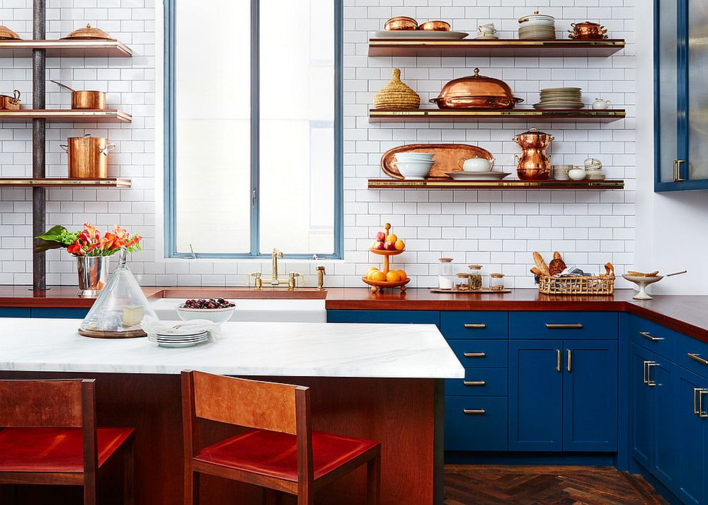 Transitional kitchen with blue cabinets and a copper glint [Design: BK Interior Design]