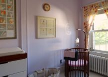 Trendy Scandinavian nursery with Peace and Happiness 1380 Paint from Benjamin Moore on the wall