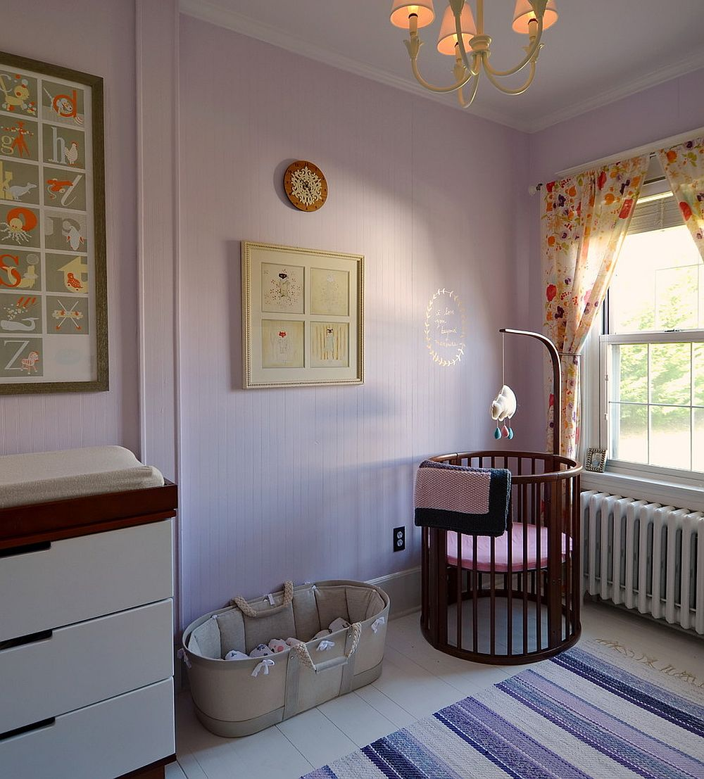 Trendy Scandinavian nursery with Peace and Happiness 1380 Paint from Benjamin Moore on the wall [Design: Kelly Donovan]